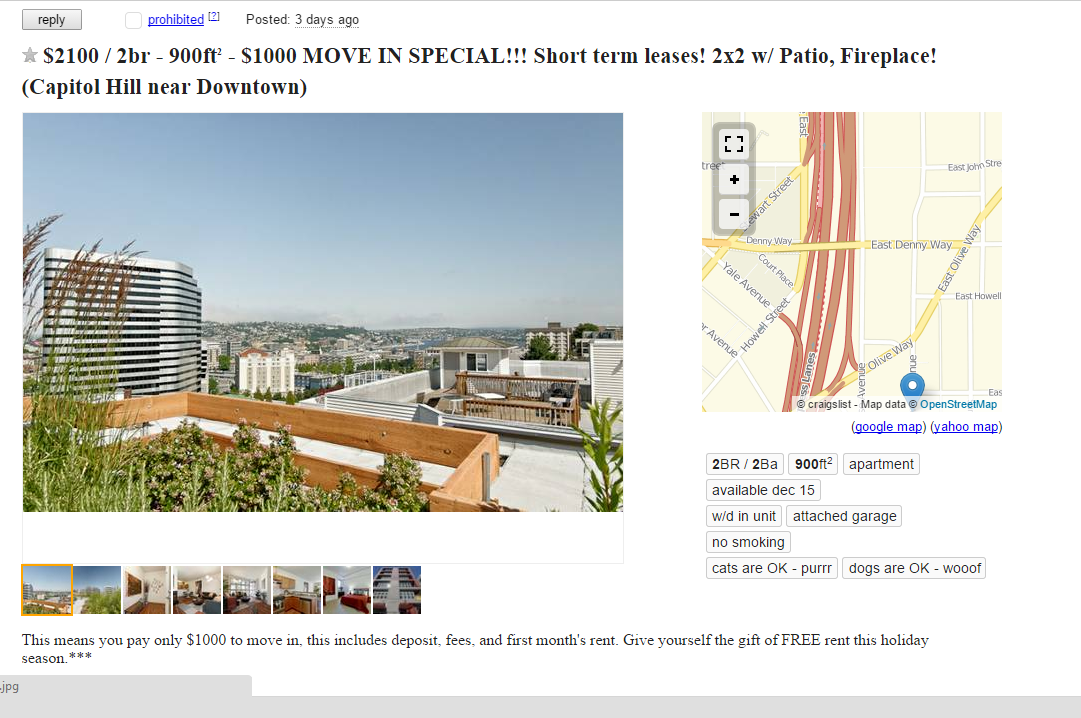 a week of mining seattle s craigslist apartment pricing seattle