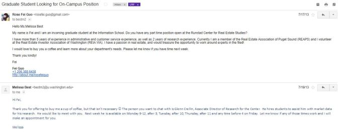 First email I sent to Runstad center's program manager.
